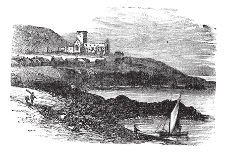 abbey: The ruins of St Marys Abbey in Iona, Scotland, during the 1890s, vintage engraving. Old engraved illustration of St Marys Abbey ruins with the coast of Iona.  Illustration