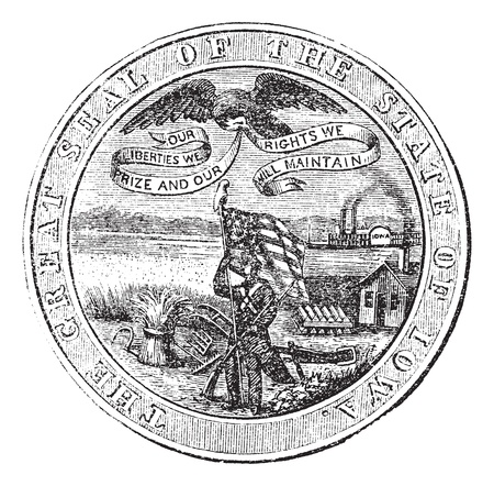 Great Seal of the State of Iowa, USA, vintage engraving. Old engraved illustration of Great Seal of the State of Iowa isolated on a white background.  Vector