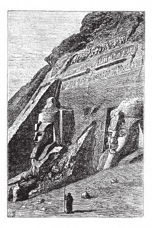 architectural heritage of the world: The Great Temple at Abu Simbel in Egypt, during the 1890s, vintage engraving. Old engraved illustration of Great Temple at Abu Simbel with guard in front.