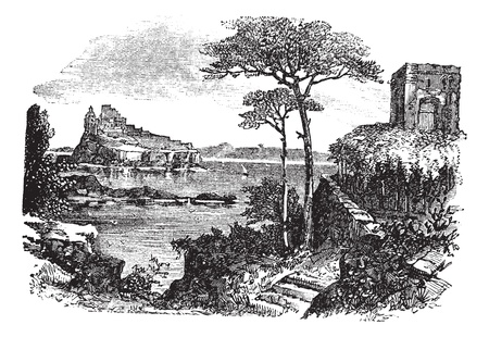Ischia in Italy, during the 1890s, vintage engraving. Old engraved illustration of Ischia with castle and sea.