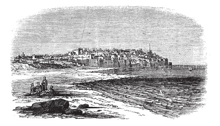 Jaffa in Israel, during the 1890s, vintage engraving. Old engraved illustration of Jaffa port. Vector
