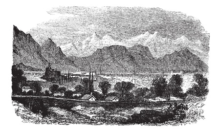 Ioannina or Jannena or Jannina in Epirus, Greece, during the 1890s, vintage engraving. Old engraved illustration of Ioannina with trees, houses in front and lake, mountains in back. Vector