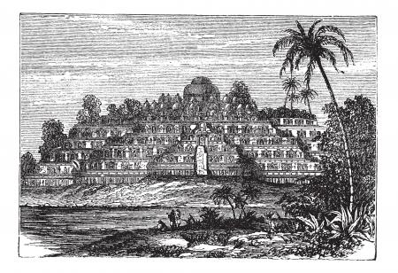 ボロブドゥールまたは的構成、1890 年代の間に、中央ジャワ、インドネシアでヴィンテージの彫刻。古い湖と前部の木とボロブドゥール寺院のイラス