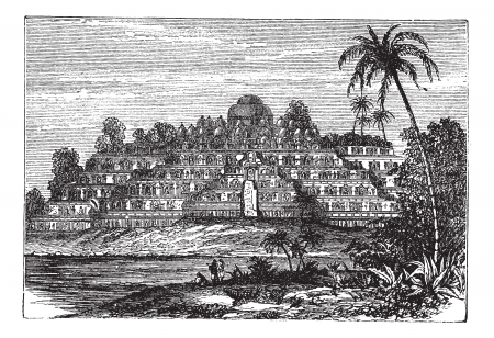 indonesia culture: Borobudur or Barabudur in Central Java, Indonesia, during the 1890s, vintage engraving. Old engraved illustration of Borobudur Temple with lake and trees in front. Illustration