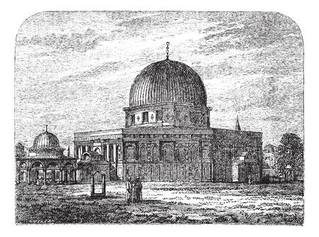 1890 년대 동안 예루살렘, 이스라엘에있는 바위의 돔, 포도 수확, 조각. 옛 앞에 사람들이 바위 모스크의 돔의 그림을 새겨 져있다.