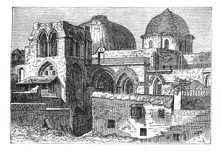 巡礼: 1890 年代の間に、イスラエルのエルサレムで復活の教会の聖墳墓教会ビンテージ彫刻。古い聖墳墓教会のイラストを刻まれています。