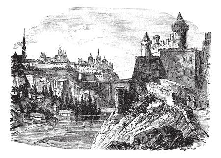 Kamyanets Podilsk またはカメネツ、1890 年代の間に、ウクライナの Podolsky ビンテージ彫刻。古い川と Kamyanets Podilsk のイラストを刻印しました。  イラスト・ベクター素材