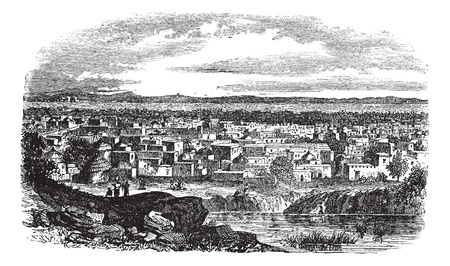 nigeria: City of Kano, Nigeria vintage engraving. Old engraved illustration of residential structures at Kano, Nigeria, 1800s.  Illustration