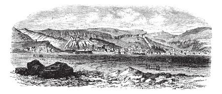 Landscape and mountains at Kars, Turkey vintage engraving. Old engraved illustration of landscape and mountains at kars, Turkey during the 18th century.
