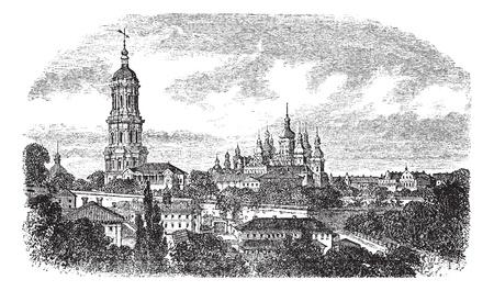 Pechersky Monastery, Kiev vintage engraving. Old engraved illustration of pechersky monastery at kiev, 1890s. 向量圖像