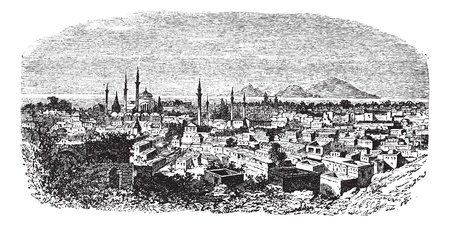 Konieh or Koniah or Konya city anciently known as Iconium vintage engraving. Old engraved illustration of Konieh cityscape anciently known as Iconium, Vector