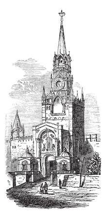 citadel: Sacred Gate at kremlin vintage engraving. Old engraved illustration of sacred gate at kremlin, Russia,1800s. Illustration