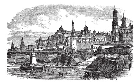 The Moscow Kremlin and river,Russia vintage engraving. Old engraved illustration of famous moscow kremlin and river,Russia, 1800s. Vector