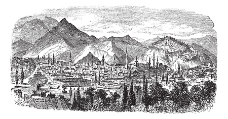 minarets: Kütahya or Kotyaion or  Cotyaeum city view, Western Turkey vintage engraving. Old engraved illustration of residential structures and mountains at Kutahya, Turkey, 1800s. Illustration