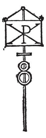 chi: Labarum or Chi-Rho symbol for Christ vintage engraving. Old engraved illustration of Chi-Rho symbol for Christ isolated on white. Illustration