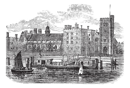 thames: Lambeth Palace, London vintage engraving. Old engraved illustration of the famous Lambeth palace at London, 1800s.