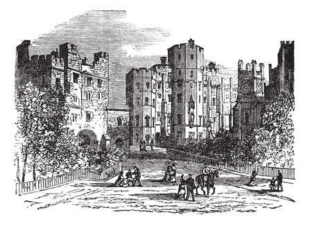 fortification: Lancaster castle, Lancashire vintage engraving. Old engraved illustration of historic lancaster castle.
