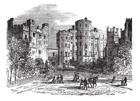 historical building: Lancaster castle, Lancashire vintage engraving. Old engraved illustration of historic lancaster castle.
