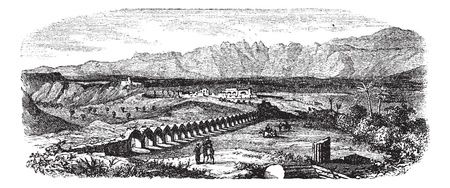 dilapidation: The Ruins of Laodicea, Turkey vintage engraving. Old engraved illustration of Ruins of a colonnaded street in Laodicea, Turkey, 1800s.
