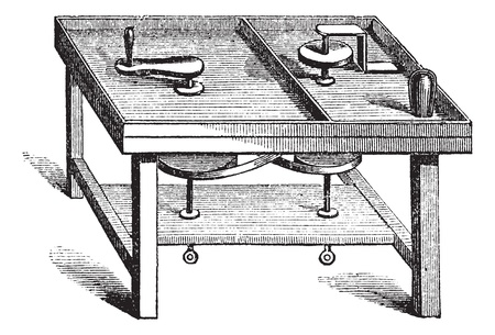 art and craft equipment: Lapidary Table vintage engraving. Old engraved illustration of lapidary table. Illustration
