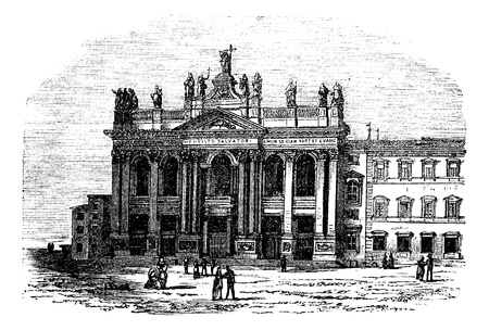 Laterano or Lateran church and palace, Italy, vintage engraved illustration. Trousset encyclopedia (1886 - 1891). Illusztráció