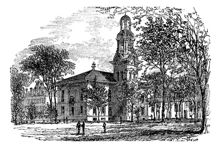 City Hall in Lawrence, Canada, vintage engraved illustration. Trousset encyclopedia (1886 - 1891). Stock Vector - 13771801