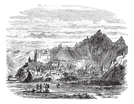 Leh Palace, in the town of Leh, Tibet, China, vintage engraved illustration. Trousset encyclopedia (1886 - 1891). Ilustração