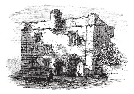 Door to Newarke, Leicester, England, United Kingdom, vintage engraved illustration. Trousset encyclopedia (1886 - 1891). Stock Vector - 13772238