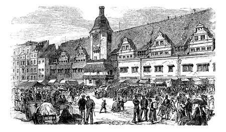 market place: City Hall and market place in Leipzig, Germany, vintage engraved illustration. Trousset encyclopedia (1886 - 1891).