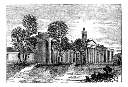 Washington and Lee University, Lexington, Virginia, United States, vintage engraved illustration. Trousset encyclopedia (1886 - 1891). Vector