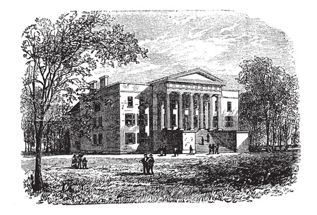 college campus: College of Arts, University of Kentucky, Lexington, vintage engraved illustration. Trousset encyclopedia (1886 - 1891).