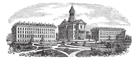 liberal: Bates College in Lewiston, Maine, vintage engraved illustration. Trousset encyclopedia (1886 - 1891).