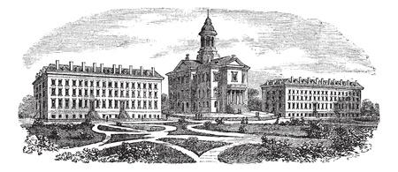 college building: Bates College in Lewiston, Maine, vintage engraved illustration. Trousset encyclopedia (1886 - 1891).