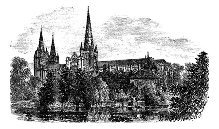 Lichfield Cathedral, Lichfield, Staffordshire, England. vintage engraved illustration. Trousset encyclopedia (1886 - 1891). Vector