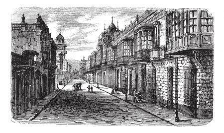 peru architecture: Coca and Bodegones intersection in Lima, vintage engraved illustration. Coca and Bodegones intersection in Lima, Peru, during the 1800s. Trousset encyclopedia (1886 - 1891).