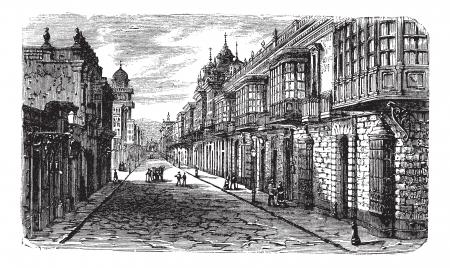 Coca en Bodegones kruising in Lima, vintage gegraveerde illustratie. Coca en Bodegones kruising in Lima, Peru, tijdens de jaren 1800. Trousset encyclopedie (1886-1891).