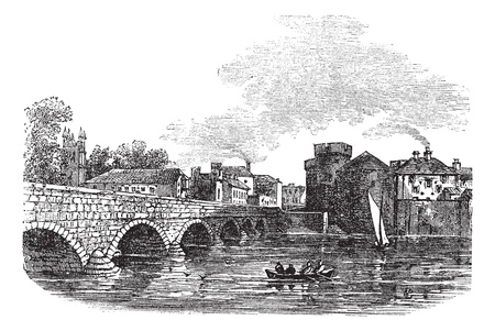 Thomond Bridge and King Johns Castle, Limerick, Ireland vintage engraved illustration. Trousset encyclopedia (1886 - 1891). Vector
