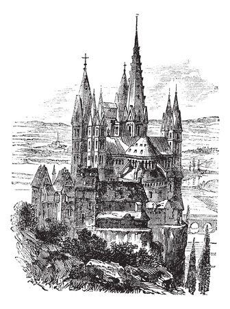george: Cathedral of St. George, Limburg-On-The-Lahn vintage engraved illustration. Trousset encyclopedia (1886 - 1891).