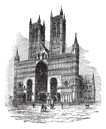 edifice: Lincoln Cathedral or The Cathedral Church of the Blessed Virgin Mary of Lincoln. vintage engraved illustration. Trousset encyclopedia (1886 - 1891).
