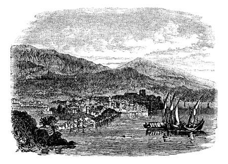 Lipari island, Sicily, Italy, vintage engraved illustration. Trousset encyclopedia (1886 - 1891).