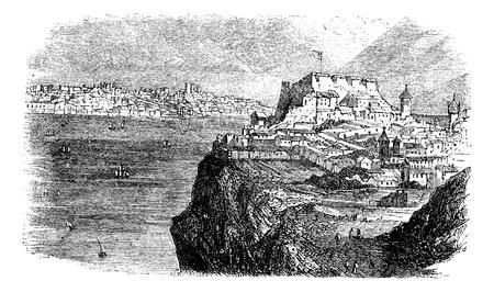 Lissabon, uitzicht vanaf de zuidelijke oever van de Taag, vintage gegraveerde illustratie. Trousset encyclopedie (1886 - 1891).