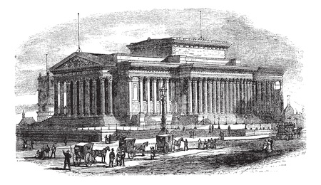 architectural heritage: St Georges Hall on Lime Street in Liverpool, England, during the 1890s, vintage engraving. Old engraved illustration of St Georges Hall with moving carts and people in front.  Illustration