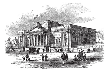liverpool: William Brown Library and Museum or World Museum Liverpool in England, during the 1890s, vintage engraving. Old engraved illustration of William Brown Library and Museum with moving cart and people in front.