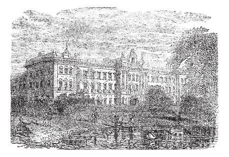 buckingham: Buckingham Palace or Buckingham House in London, England, during the 1890s, vintage engraving. Old engraved illustration of Buckingham Palace with lake and people in front.