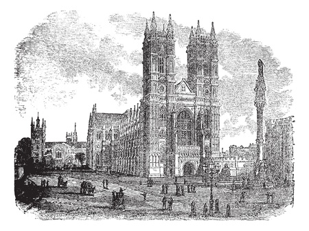 westminster: Westminster Abbey or Collegiate Church of St Peter in London, England, during the 1890s, vintage engraving. Old engraved illustration of Westminster Abbey with people in front. Illustration