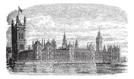1890 년대 동안 웨스트 민스터 또는 런던, 영국, 의회 또는 웨스트 민스터 궁전 하우스 궁전, 포도 수확, 조각. 옛 앞에 템스 강 웨스트 민스터 궁전의 그