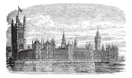 historical sites: Palace of Westminster or Houses of Parliament or Westminster Palace in London, England, during the 1890s, vintage engraving. Old engraved illustration of Palace of Westminster with river Thames in front. Illustration