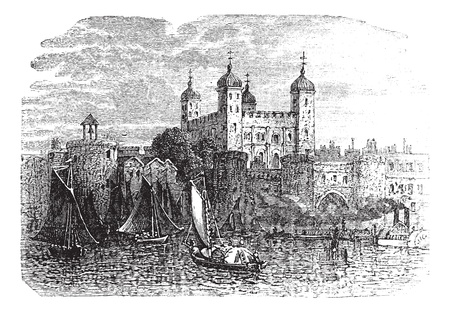 Tower of London or Her Majestys Royal Palace and Fortress in London, England, during the 1890s, vintage engraving. Old engraved illustration of Tower of London with moving ships in front. Vector