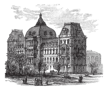 criminal: Old St. Louis County Courthouse or Old Courthouse in St. Louis, Missouri, USA, during the 1890s, vintage engraving. Old engraved illustration of Old St. Louis County Courthouse with people infront.