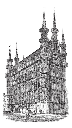 town hall: Town Hall of Leuven, Belgium, during the 1890s, vintage engraving. Old engraved illustration of Town Hall of Leuven.